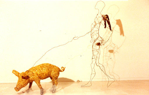 Engel på tur med gris. Efterårsudstillingen på Charlottenborg 1988